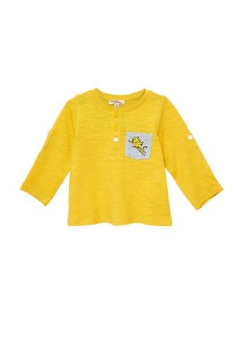 Du Pareil Au Même (DPAM) yellow Pocket Leopard T-Shirt F8D30KAE690215GS_1