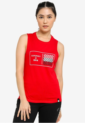 Superdry 紅色 Train Core 印花Tank上衣 - Sports Performance 251E5AA225DC53GS_1