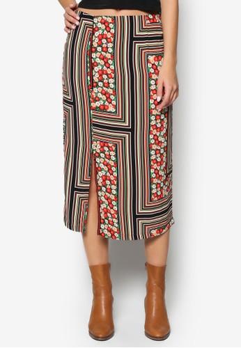 Floral Stripe topshop 包Midi Skirt, 韓系時尚, 梳妝