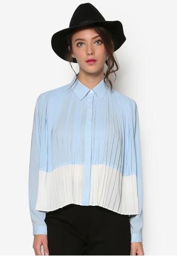 前褶飾拼色長袖襯衫, 服飾,esprit 澳門 上衣