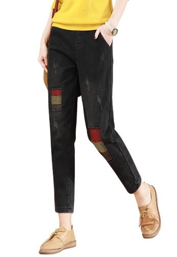 A-IN GIRLS black Elastic Waist Frayed Jeans 86115AA8522A48GS_1