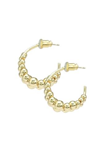 Red's Revenge gold Bauble Drops Hoop Earrings 864BDAC08CB173GS_1