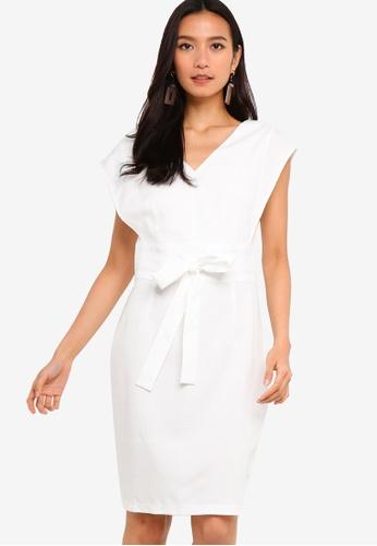 ZALORA 白色 格紋合身洋裝 89011AA5DBA6F6GS_1