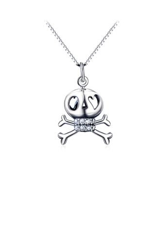 Glamorousky white 925 Sterling Silver Fashion Punk Skull Pendant with Cubic Zirconia and Necklace D353DAC0739B9FGS_1