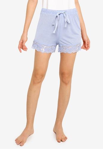 ZALORA BASICS blue Lounge Lace Trim Shorts D5DBFAACA809F7GS_1