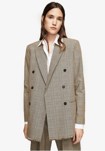 Mango brown Check Structured Blazer MA193AA0RV1AMY_1