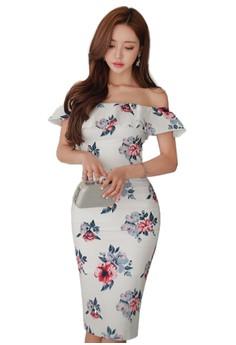 【ZALORA】 2017夏季花卉圖案露肩連衣裙A070523