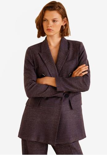 MANGO purple Flecked Wool-Blend Suit Blazer 04CE1AA5E71871GS_1