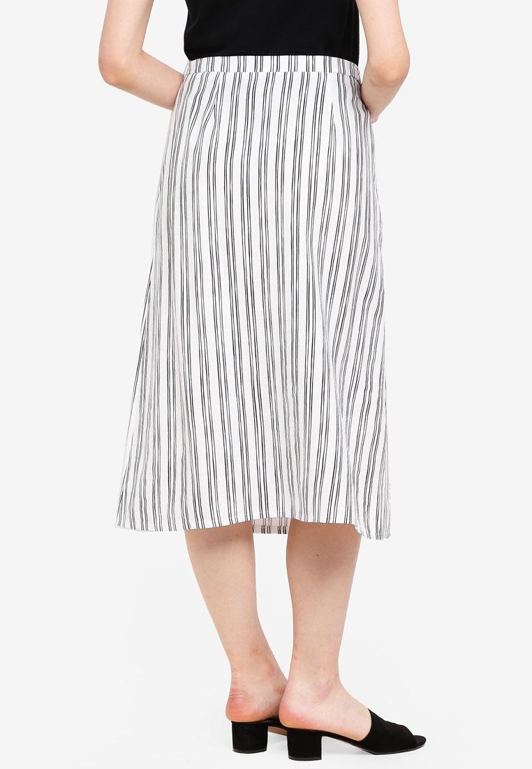 Midi Skirt Detailed Borrowed Stripes Black White Something Button xITtEwxz