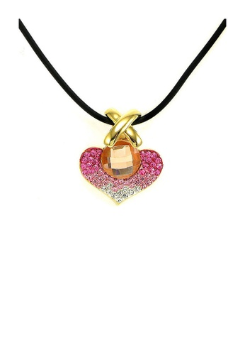 Glamorousky silver Elegant Orange Crystal Glass Pendant with Pink and Silver Austrian Element Crystals and Necklace E3461AC77A98FDGS_1