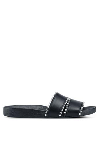 TOPSHOP 黑色 鉚釘滾邊拖鞋 5F0FFSH24B2B14GS_1