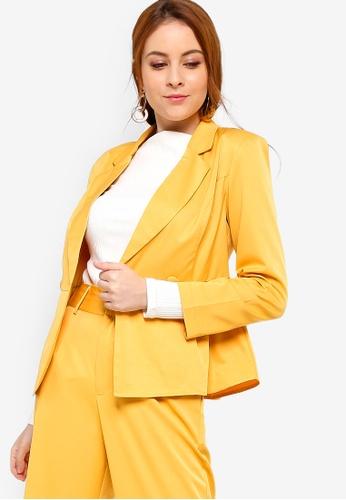 Zalia yellow Double Breasted Peplum Blazer B886FAA800F6C4GS_1