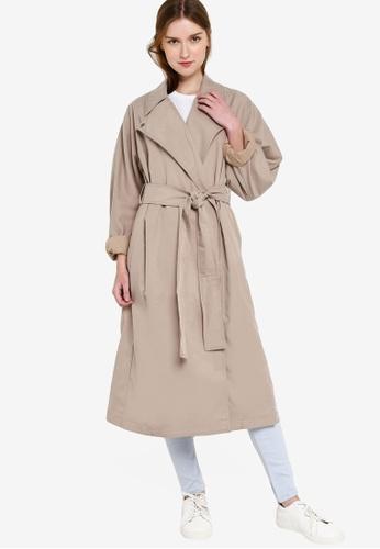 TRENCH Coat Jacket Women Black Beige Wool Mac Free Belt Size 6 8 10 12 14 16 UK