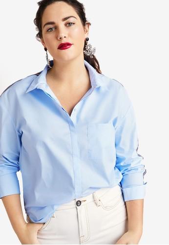 Violeta by MANGO blue Plus Size Trims Cotton Shirt 72CFDAAD4E3CD4GS_1