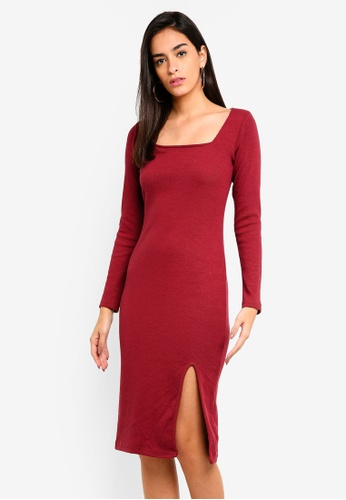 54deff72612a Shop MISSGUIDED Ribbed Square Neck Midi Dress Online on ZALORA Philippines