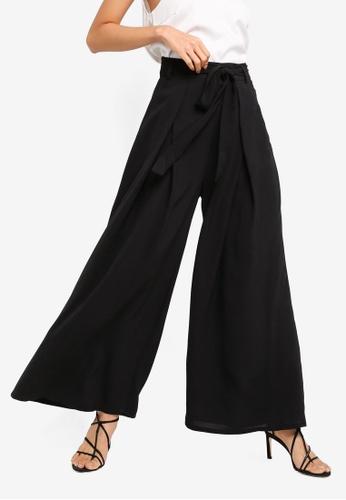 ZALORA black Wide Leg Palazzo Pants F7652AA232DCDDGS_1