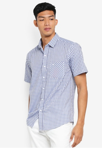 Fidelio 藍色 短袖格紋襯衫 3EFB4AA8A8166AGS_1