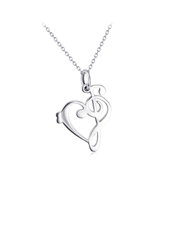 Glamorousky silver 925 Sterling Silver Fashion Simple Music Note Heart Pendant with Necklace ED065ACA223EA5GS_1