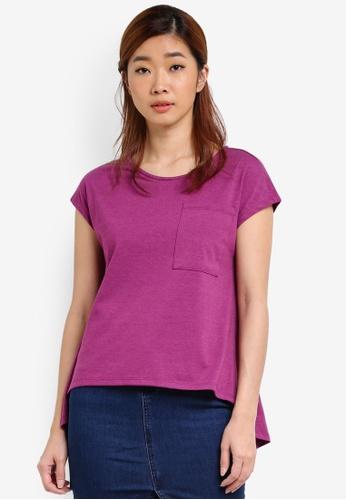 UniqTee purple Cap Sleeve Asymmetrical Hem Top UN097AA0S22YMY_1