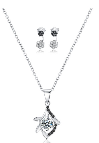 A-Excellence white Premium Elegant White Sliver Necklace Earring Set 93903ACD761613GS_1