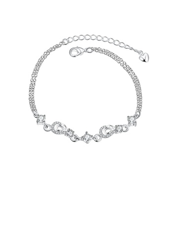 Glamorousky white Classic Creative Water Drop-shaped Bracelet with White Cubic Zircon 05E60AC61D8320GS_1