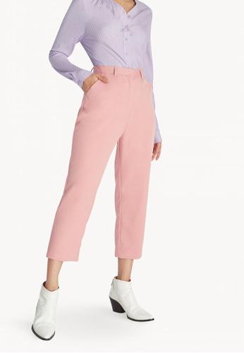 super popular 34c68 44a35 Pomelo pink High Waist Cropped Pants - Light Pink 080ECAA9A28DECGS 1