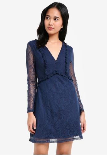Something Borrowed navy Ruffle Lace Babydoll Dress 05FC5AAFBA839AGS_1