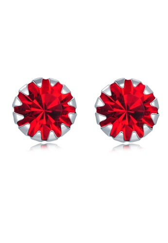 MBLife silver 925 Sterling Silver Red CZ Stud Earrings 7F69AAC9187C71GS_1