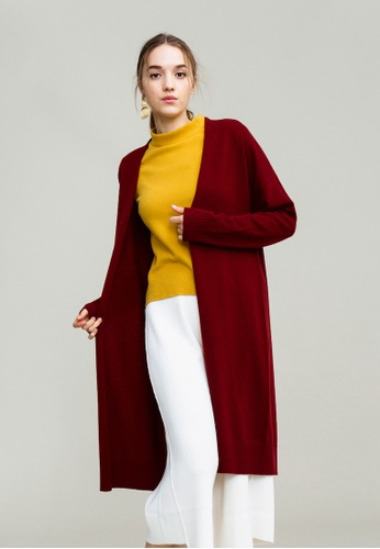 KLAPS red Cashmere-blend Long Cardigan 94388AA8A973ADGS_1
