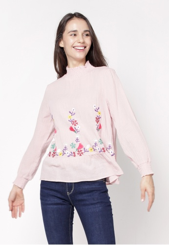 nicole pink High Neckline Long Sleeve Embroidery Blouse DBFAFAA943BEA5GS_1