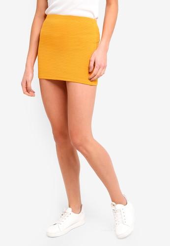 ZALORA BASICS yellow Basic Textured Bandage Mini Skirt 25218AA447A752GS_1