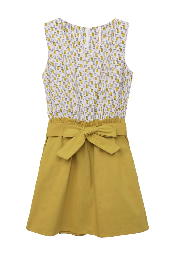 Eyescream Yellow 2 Dress Printed Faux Piece Wg7px58q