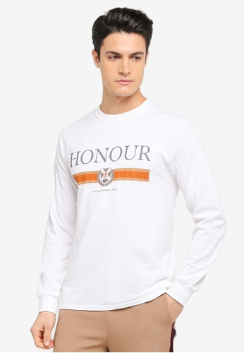 Topman white White Long Sleeve Honour T-Shirt TO413AA0T1NGMY_1