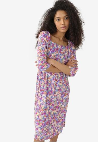 PIMKIE purple Flowery Dress 89FF7AABF90E67GS_1