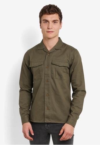 !Solid 綠色 Kaidan 雙 胸前 口袋 Military 襯衫 SO701AA0S2UXMY_1