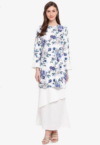 Gene Martino white Kurung Modern Layered Skirt 8B456AAF6E5E1CGS_1