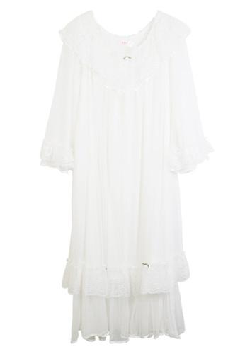 ZITIQUE white Long Sleeve Palace Style Sleepwear-White E54F8USD19AFBBGS_1