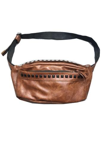 Lara brown Men's Rivets Crossbody Bag - Brown 996C6ACF795DCAGS_1