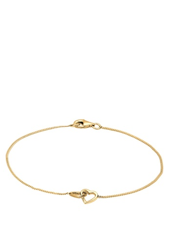 Elli Germany gold Elli Germany 925 Sterling Silver Hearts Gold Plated Bracelet EL474AC96GNRMY_1