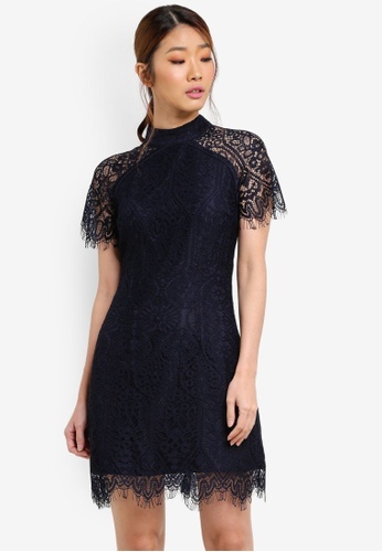 Something Borrowed navy Cap Sleeved Lace Bodycon Dress 0A71CAACF30931GS_1