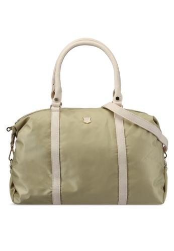 NUVEAU green Pu-Trimmed Nylon Travel Duffel Bag NU245AC0SRYYMY_1