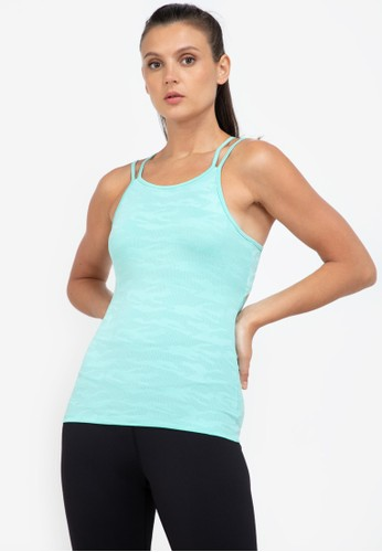 ZALORA ACTIVE green Cut Out V Back Strap Tank Top 615C9AA1FB9891GS_1