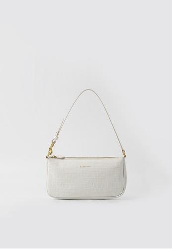 BERACAMY white and beige BERACAMY CLARA Wristlet Clutch - Embossed Creme 046C8AC7525B42GS_1