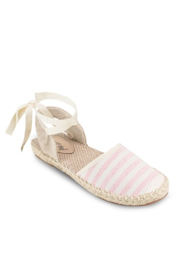 Play! Shayla 條紋繫帶踝帶平底涼esprit 折扣鞋, 女鞋, 鞋