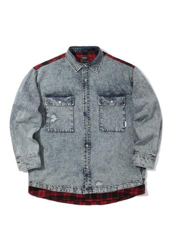 Fivecm blue Panelled denim plaid shirt AAD3EAA563B4C6GS_1