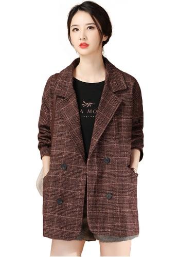 A-IN GIRLS red Temperament Check Suit Collar Woolen Coat D945EAA1C922E9GS_1