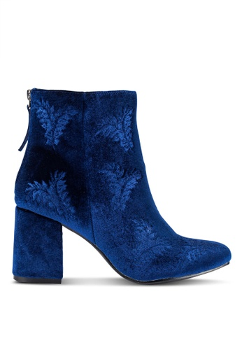 ZALORA navy Embroidered Ankle Boots 62F39ZZE1F6220GS_1