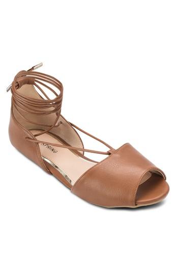 Abowen 亮面蛇紋繫帶平底鞋, 女鞋,esprit 高雄 鞋