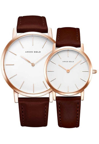 Aries Gold brown Aries Gold Couple Set -  Santos G 1022 & L 1023 RG-W Rose Gold and Brown Leather Watch 02D2FACE668274GS_1