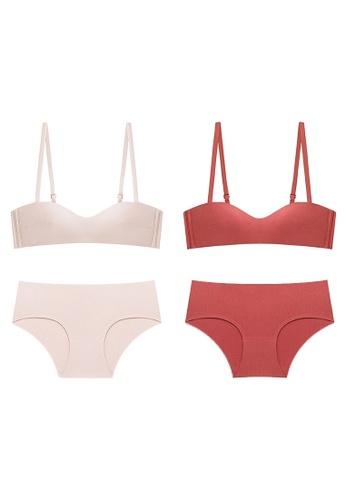 K.Excellence orange Premium Comforn Pink&orange Lingerie Set (Bra and Underwear) 21DCFUS9554F84GS_1